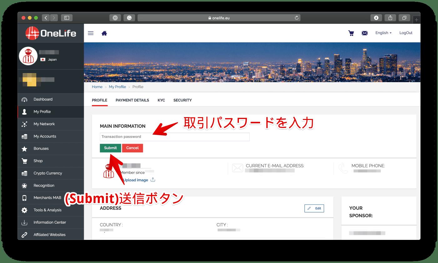 取引パスワードを入力したら緑色の「Submit」ボタンにクリックします。